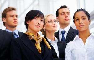 Portrait d'un groupe (diversité) en équipe de travail